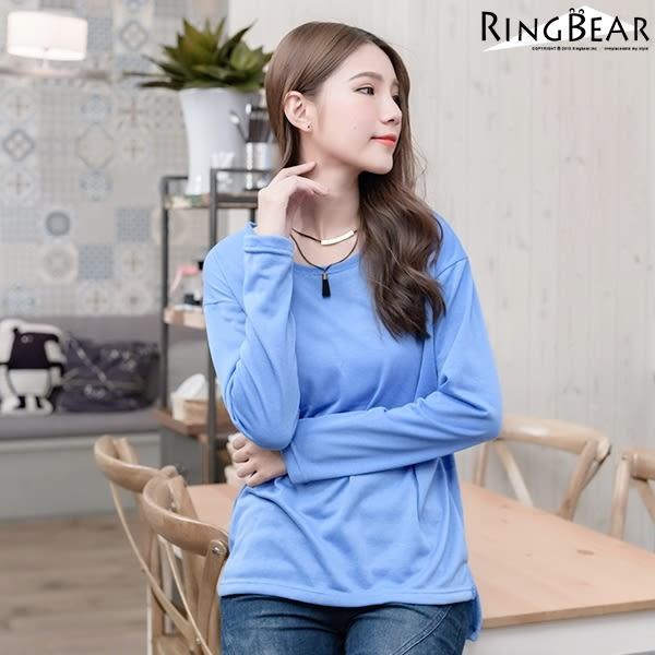 質感長袖上衣--輕鬆隨興素面側開岔前短後長圓領長袖上衣(黑.紅.藍XL-5L)-X200眼圈熊中大尺碼
