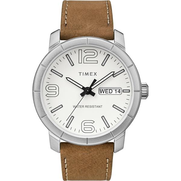 【TIMEX】天美時 風格系列 經典潮流大數字手錶(白/棕色TXTW2R64100)