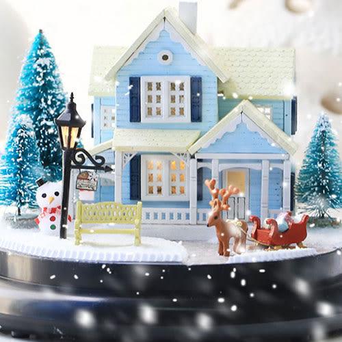 【WT16120914】 手製DIY小屋 手工拼裝房屋模型建築 音樂盒  含展示盒-北歐童話