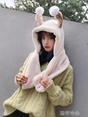 毛毛帽會動的兔子耳朵帽子女秋冬季甜美可愛帽子圍巾一體冬天圍脖護耳帽 瑪奇哈朵