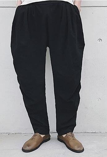 FINDSENSE 品牌 尼泊爾男士休閒褲 立體剪裁褶皺文藝麻褲哈倫褲