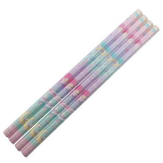 小禮堂 雙子星 日製 六角鉛筆組 2B鉛筆 木鉛筆 (4入 粉綠 飲料) 4901770-63261