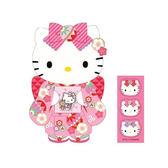 Hello Kitty信封 桃粉立體和服造型迷你紅包袋/小信封袋/小紙袋3入(含貼紙) [喜愛屋]