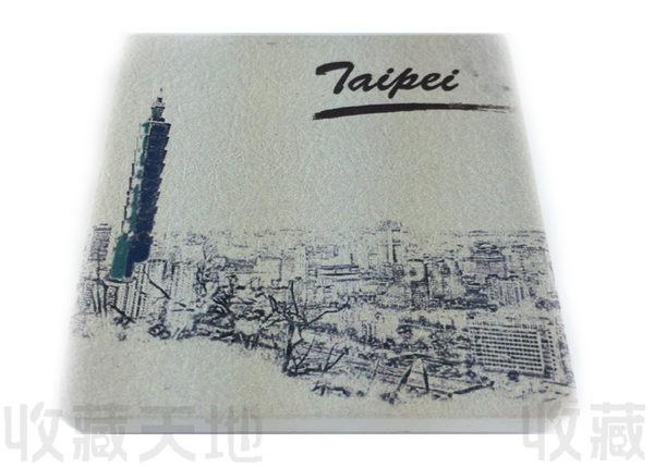 【收藏天地】台灣紀念品*陶瓷杯墊冰箱貼-台北大樓景色