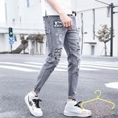 夏季薄款9九分牛仔褲 男士韓版修身彈力小腳褲 潮流男裝休閒男褲子 萬聖節狂歡價