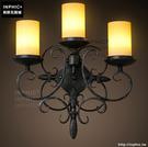 INPHIC- 美式鄉村風格臥室牆燈歐式復古走廊玻璃單頭鐵藝蠟燭台壁燈-J款_S197C