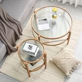 簡約現代茶幾設計師客廳沙發邊幾小戶型鐵藝實木木紋玻璃圓形茶幾【頁面價格是訂金價格】