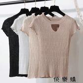 冰絲亮絲針織衫T恤寬鬆搭鏤空短袖