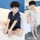 男童睡衣夏季薄款冰絲兒童空調家居服短袖夏天中大童12歲15小男孩(聖誕新品)