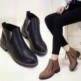 英倫風學生女靴側拉錬平底原宿皮鞋女馬丁裸靴粗跟短靴女中秋節促銷