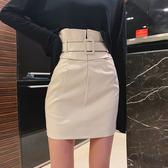皮裙 高腰皮裙女2020秋季新款韓版純色簡約百搭短裙子顯瘦包臀半身裙潮