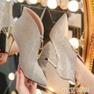 2020年新款前拉錬短靴女細跟銀色高跟鞋秋季馬丁靴顯瘦顯高英倫風 小艾新品