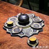 中式古典創意大號圓形茶盤套裝托盤杯墊仿石茶幾擺件禪意復古茶具 優家小鋪 igo