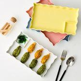 創意陶瓷餃子盤帶醋碟水餃盤日式餐具壽司盤家用分格水果盤菜盤子   小時光生活館