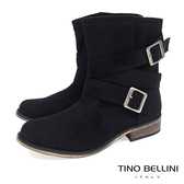 Tino Bellini率性不羈雙釦帶中筒工程靴_黑  A69066 2016AW