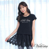 Victoria  真二件式蕾絲寬鬆短袖T-女-黑色