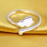 戒指 925純銀-可愛小貓生日情人節禮物女開口戒73dt795【時尚巴黎】