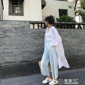 夏季新款中長款防曬衣女棉麻學生bf開衫超薄透氣襯衫寬鬆百搭外套   電購3C