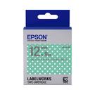 EPSON LK-4FAY C53S654425 點紋系列粉綠白點底灰字標籤帶 寬度12mm