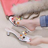 新款透明珍珠黑色露趾女夏時尚外穿沙灘高跟拖鞋 JA1165 『伊人雅舍』