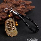 黃金萬兩羊角算盤鑰匙扣創意手工汽車鑰匙鏈掛件男女士鑰匙圈飾品     color shop