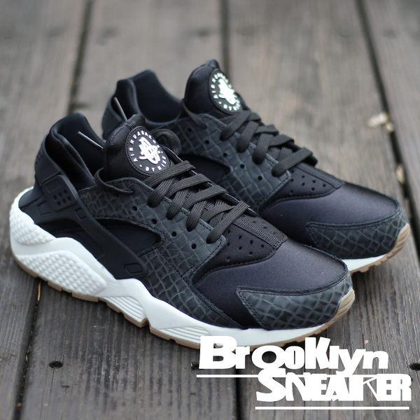 Nike Air Huarache Run 黑白 鱷魚紋 武士鞋 休閒 女 (布魯克林) 2017/1月 683818-011