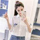 刺繡襯衫優質棉襯衫女夏裝新款刺繡花鳥民族風寬鬆顯瘦小清新短袖襯衣 快速出貨