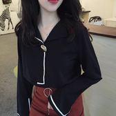 復古春季新款金屬扣翻領百搭寬鬆開叉長袖襯衫女學生上衣限時八九折