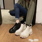 網紅靴子女2021秋新款英倫風齒輪厚底鬆糕機車馬丁靴短筒切爾西靴