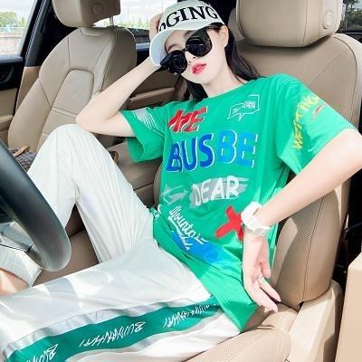 時尚套裝~6535棉運動套裝女夏時尚網紅休閑寬松減齡運動服兩件套1F048-A胖妹大碼女裝