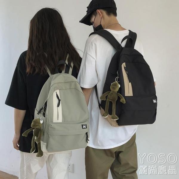 後背包 日系原宿簡約休閒帆布書包男時尚潮流正韓高中大學生雙肩包背包女 快速出貨