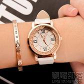 流動水鑽女錶韓國時尚韓版潮流女學生皮帶防水石英手錶