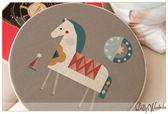 ☆Dolly生活館*╮舒適居家zakka日式鄉村風格可愛 灰底白馬 可拆洗棉麻圓形坐墊/椅墊 20920