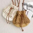 草編水桶包 草編包 編織包 藤編包 束口包 縮口包 背包 側背包 斜跨包 肩背包 小包 花 韓 NXS