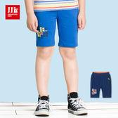 JJLKIDS 男童 炫色英字燙印五分休閒棉褲(2色)