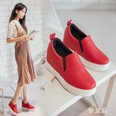 秋樂福鞋 女2018韓版一腳蹬白鞋女百搭休閒鞋厚底坡跟單鞋 QG8004『優童屋』