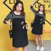 ★韓美姬★中大尺碼~條紋喇叭袖T恤背帶裙套裝(XL~4XL)