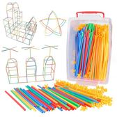 五彩吸管3D積木幼兒園積木3-6周歲拼搭兒童拼插裝益智玩具六一 【快速出貨八折免運】