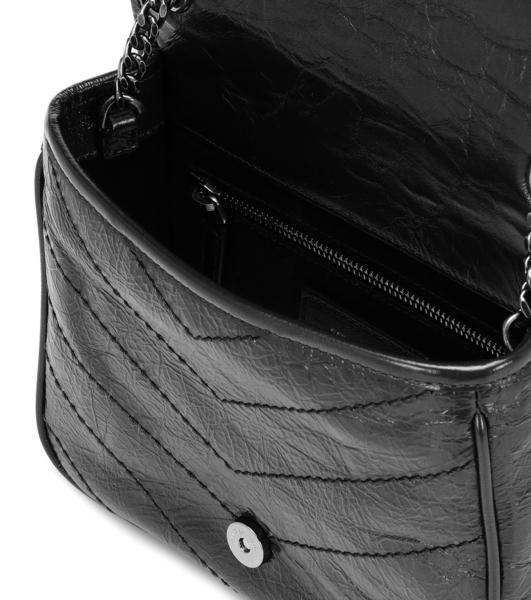 YSL Saint Laurent baby NIKI 揉製小牛皮霧銀鍊翻蓋肩/斜背包 黑色