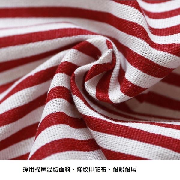 英倫風大口袋棉麻條紋圍裙 廚房 咖啡廳 幼兒園 工作圍裙【AP02064】i-style 精品百貨