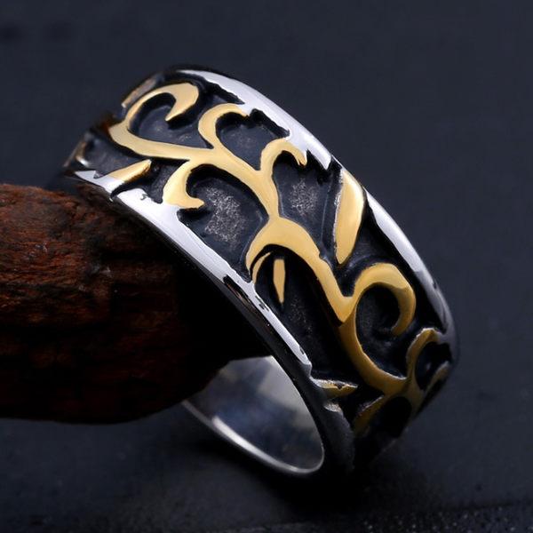 《 QBOX 》FASHION 飾品【RBR8-151】精緻個性復古雕花紋路鑄造鈦鋼戒指/戒環