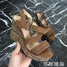 交叉帶厚底楔形涼鞋女高跟防水臺增高露趾顯白羅馬鞋 可然精品鞋櫃