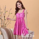 中大尺碼 睡裙女夏季吊帶睡衣女性感冰絲綢長款可外穿韓版清新學生蕾絲寬鬆 GB6177『科炫3C』