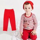 褲 褲子 長褲 休閒褲 直筒長褲 女童寶寶 素面 紅色
