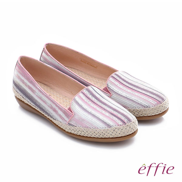 effie 樂福氣墊 真皮金箔線條奈米休閒鞋  粉紅