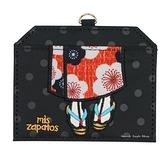 【SAS】日本限定 mis zapatos 美腳包 刺繡和服木屐版 伸縮掛繩 票卡夾套 / 卡夾套 / 證件夾套 (黑色)
