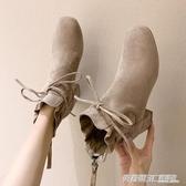 初秋小短靴女年新款秋季粗跟瘦瘦春秋單靴高跟鞋秋款馬丁靴子  英賽爾