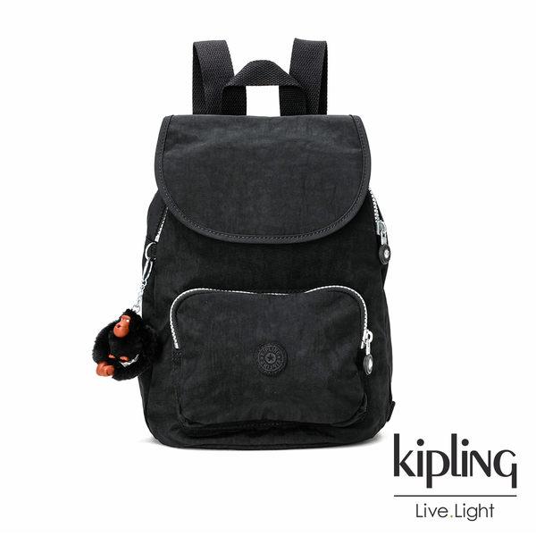 Kipling柏油黑素面後背包(中)