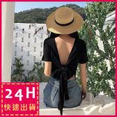 梨卡★現貨 -夏日性感沙灘後綁帶顯瘦露背T恤短袖上衣B827