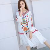 民族風連身裙 大碼寬鬆沙灘裙女泰國民族風裙子旅游海邊度假超仙波西米亞洋裝-Ballet朵朵
